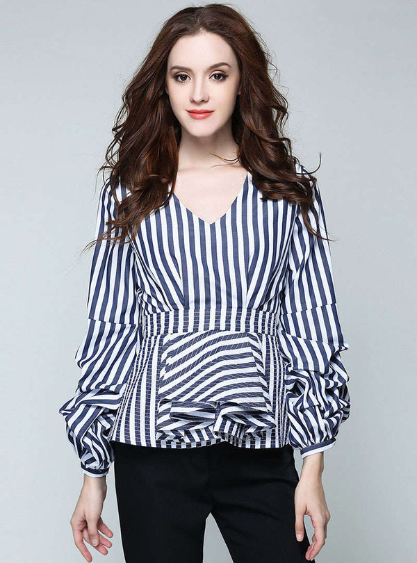 Blue V-Neck Stripes Cinched Waist Blouse