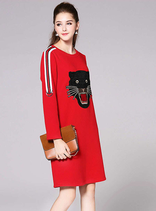 Red Embroidered Knitted Mini Dress