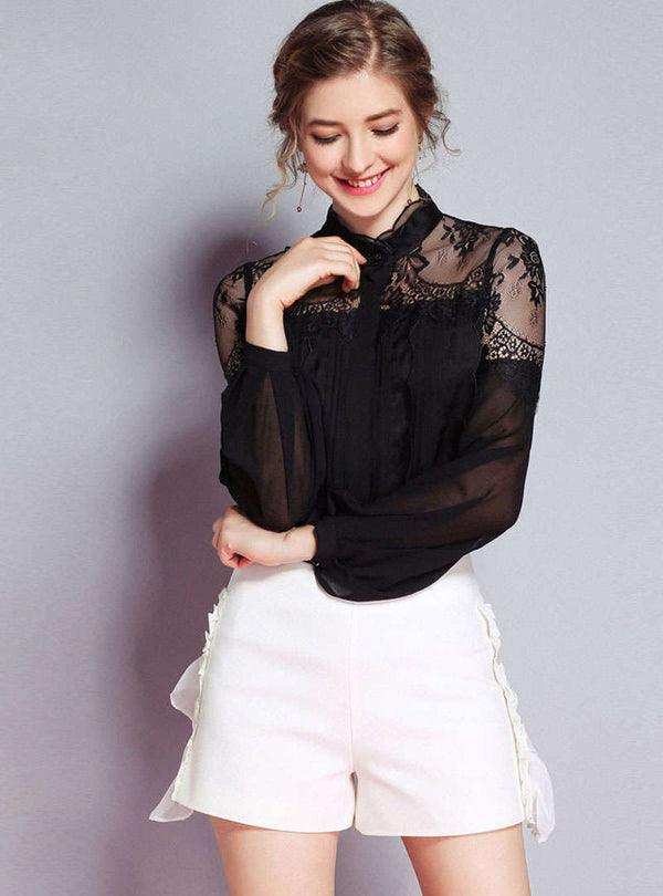 Black Lace Hollow Out Conjoined Blouse