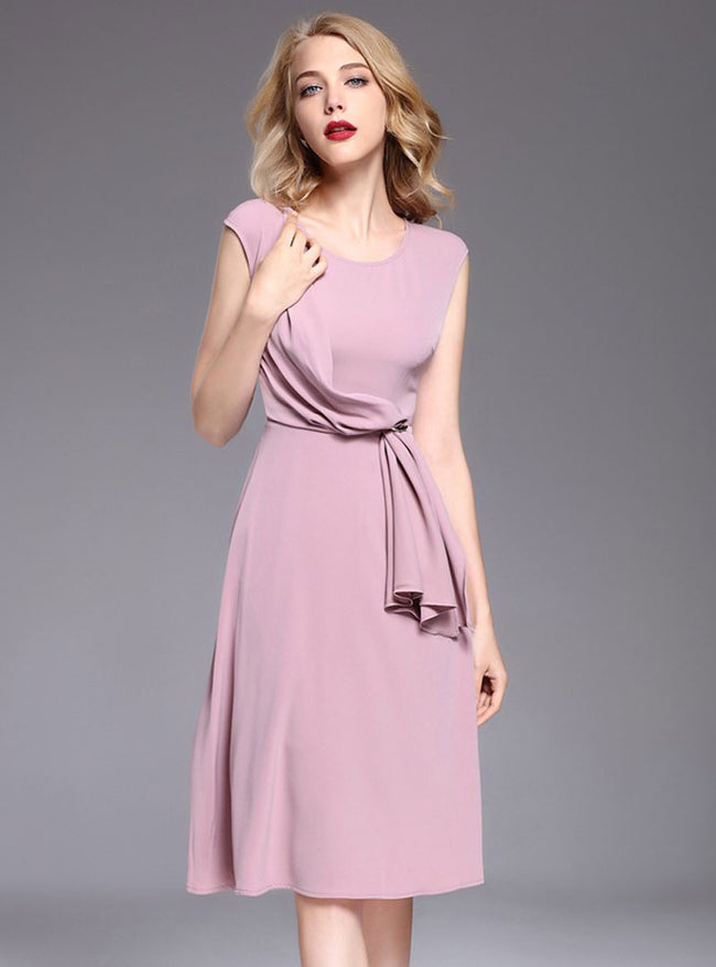 Solid Color Brief Belted Midi Dress