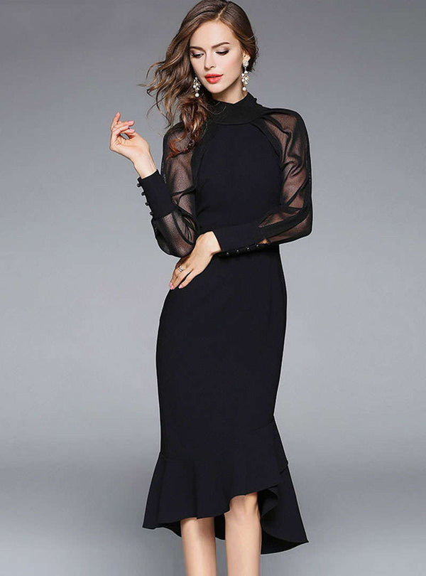 Black See-through Mesh Mermaid Midi Dress