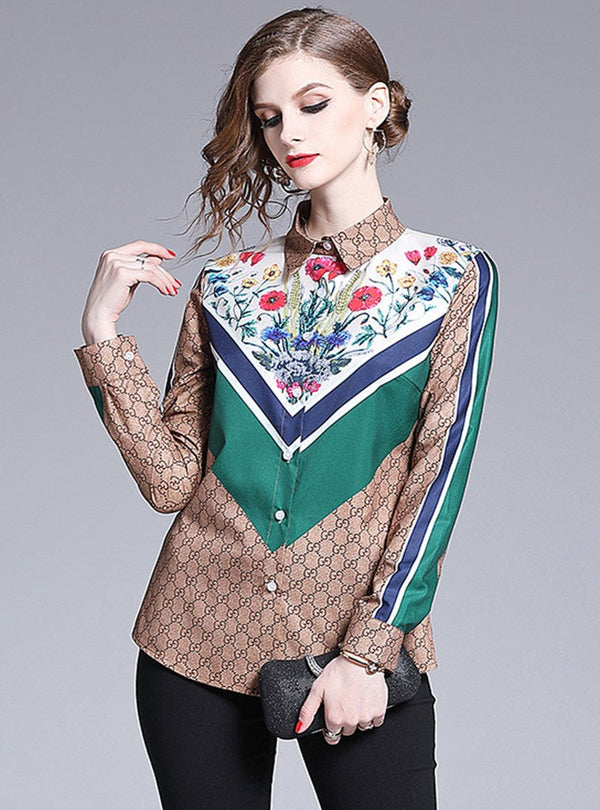 Khaki Printed Turn Down Collar Blouse