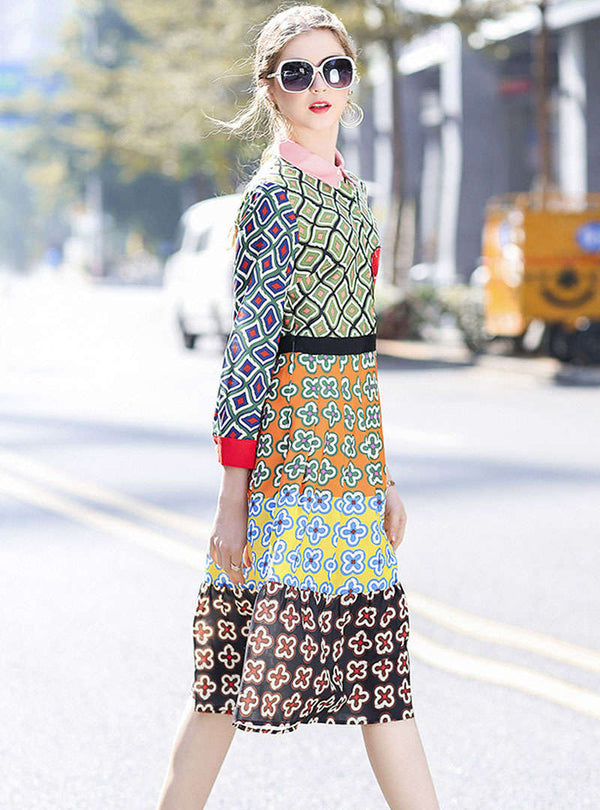 Multi-Color Floral Printed Shirt Dress