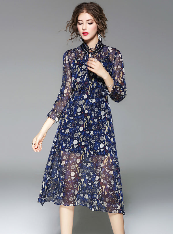 Dark Blue Floral Printed Chiffon Midi Dress