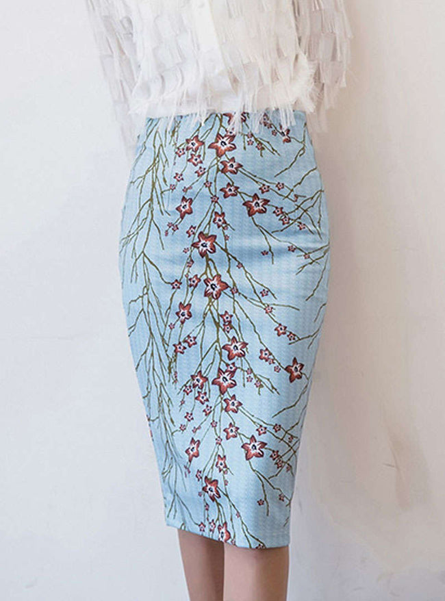 Light Blue Floral Printed Bodycon Skirt