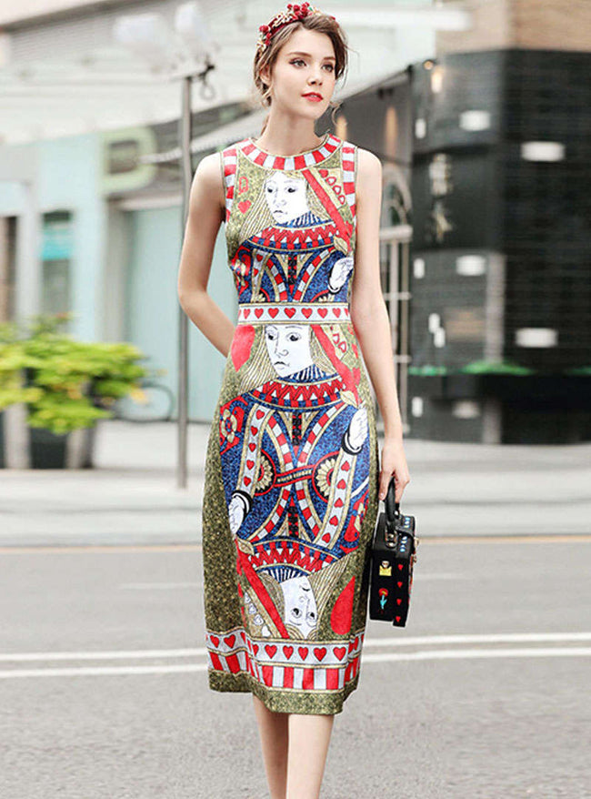 Multi Color Playing Cards Printed Midi Dress