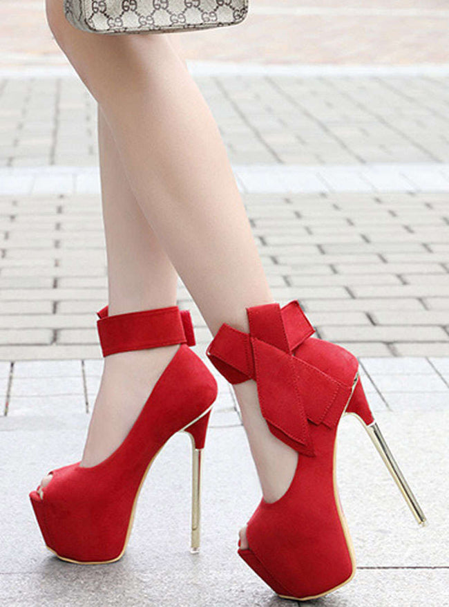 Peep Toe Bowknot Hook & Loop Stiletto Heels