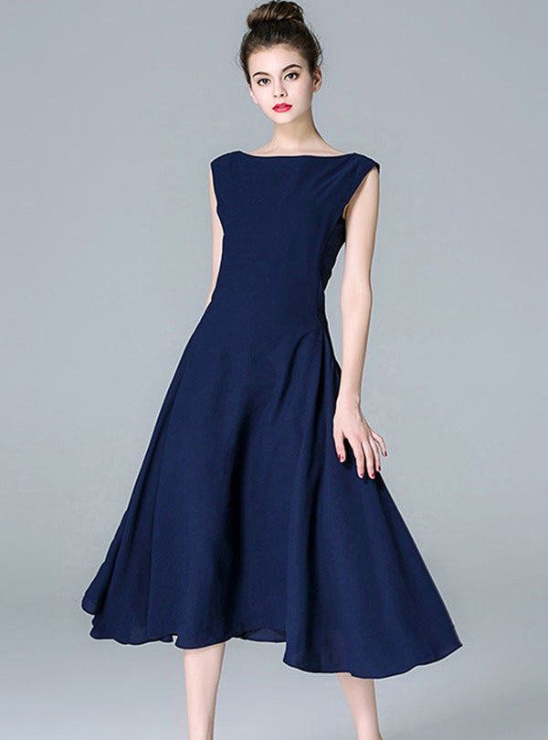 Dark Blue Sleeveless Midi Dress