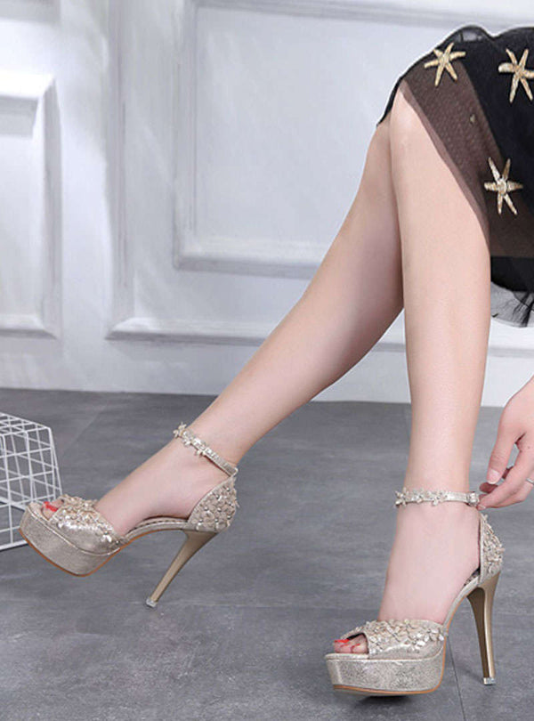 Peep Toe Embroidered Stiletto Heel Sandals