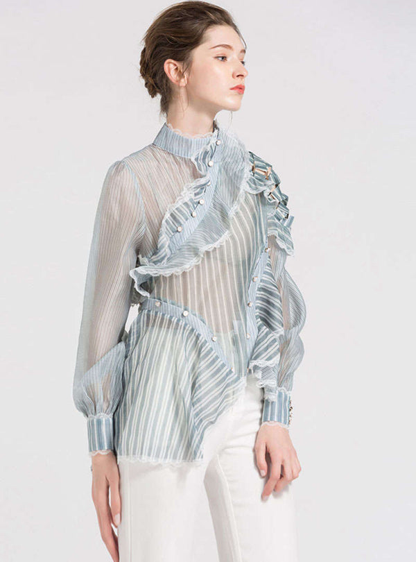 Green Stripes Asymmetric Blouse With See Through Detail