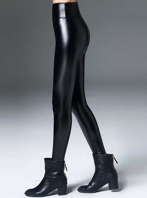 Black PU High-Waist Leggings