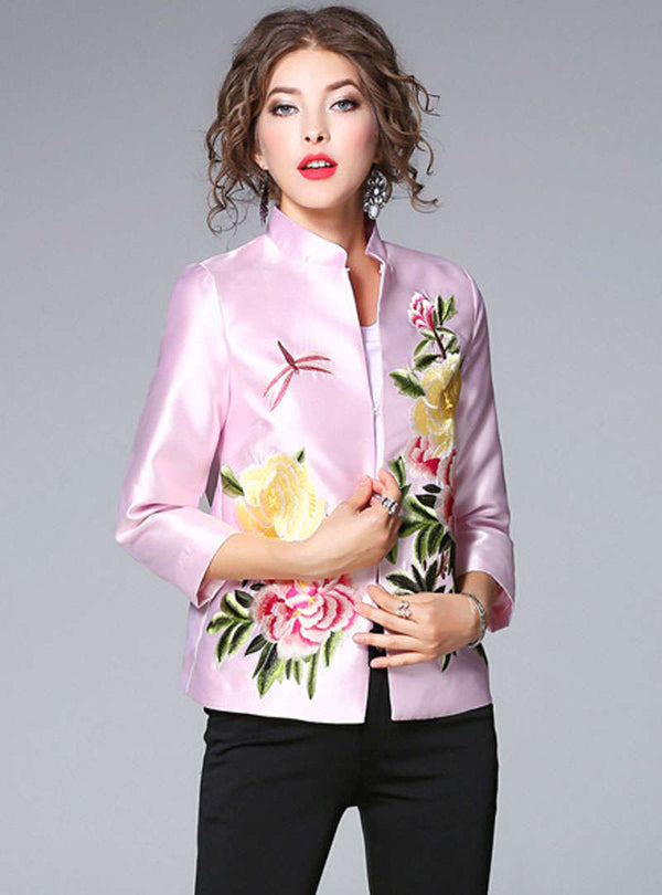 Floral Embroidered Stand Collar Jacket