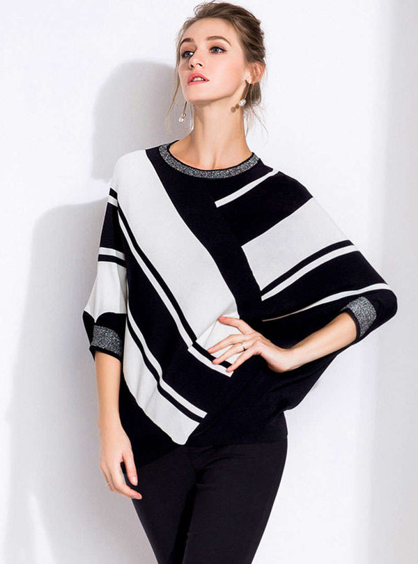 Black Asymmetric Stripes Batwing Sleeve Sweater
