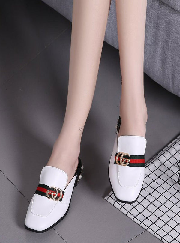 Front Metal Letter Striped Pearl Flats