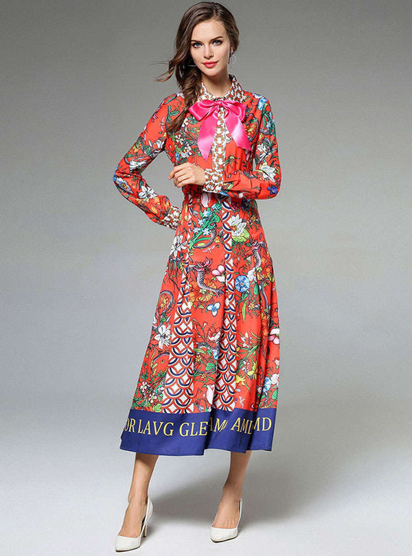 Multi Color Floral Printed Tie Neck Maxi Dress
