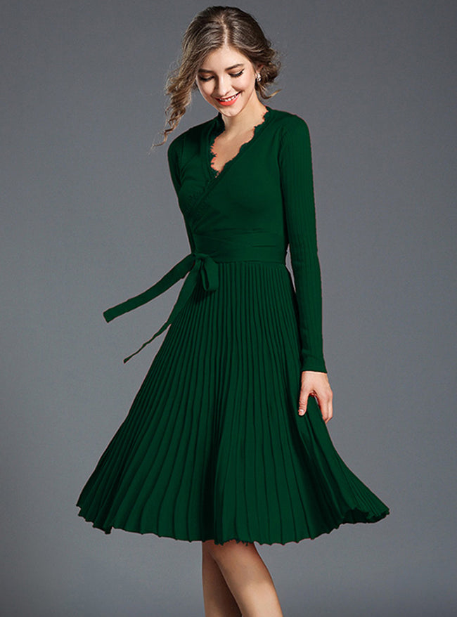 Pure Color Knitted V-Neck Midi Dress