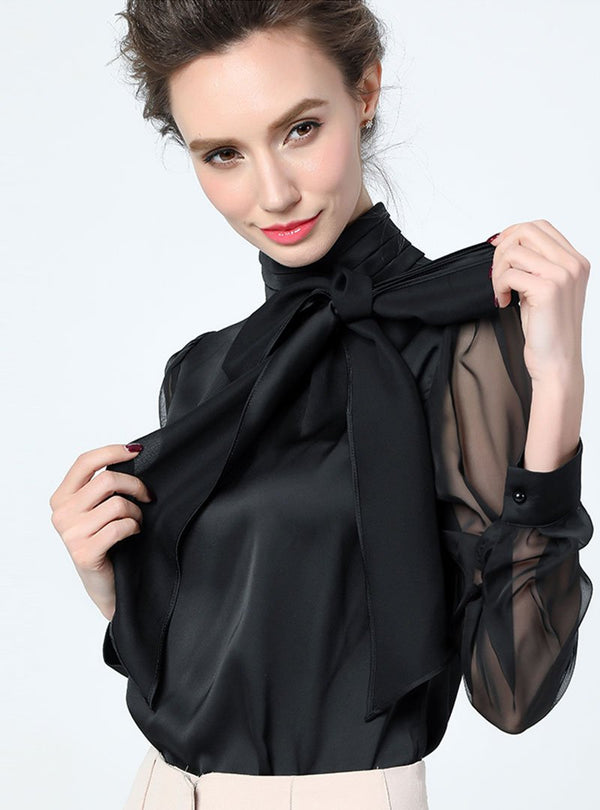 Black Bow Work Tie-neck Paneled Chiffon Blouse