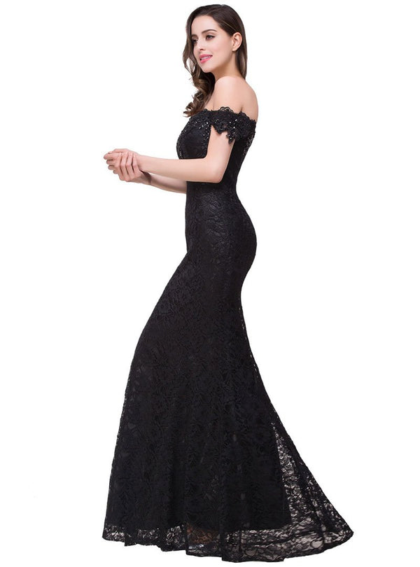 Fashion Off-Shoulder Lace Fish Tail Evening Dress