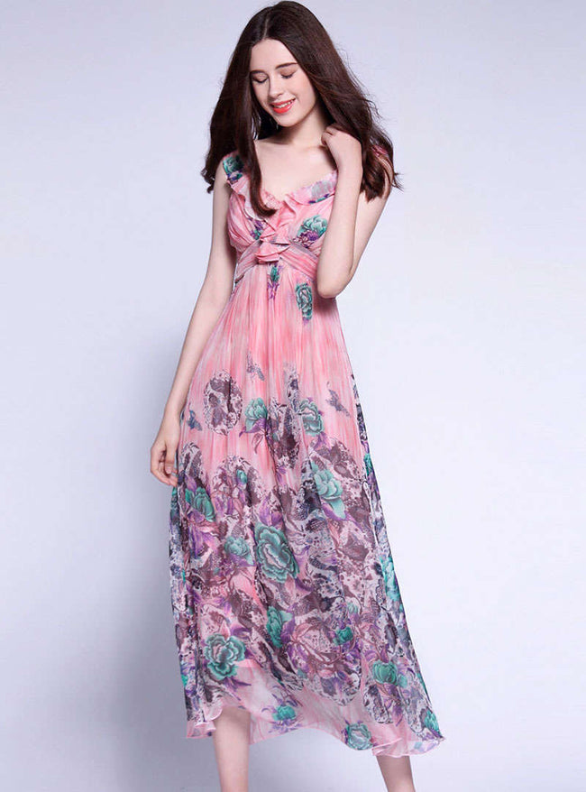 Pink Floral Printed Strap Maxi Dress