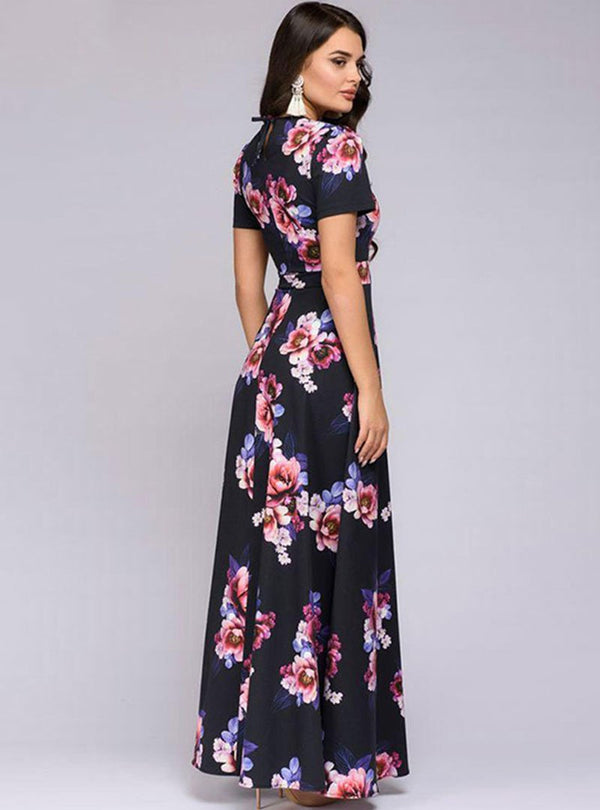 Black Floral Printed Short Sleeve Vacation Maxi Dress