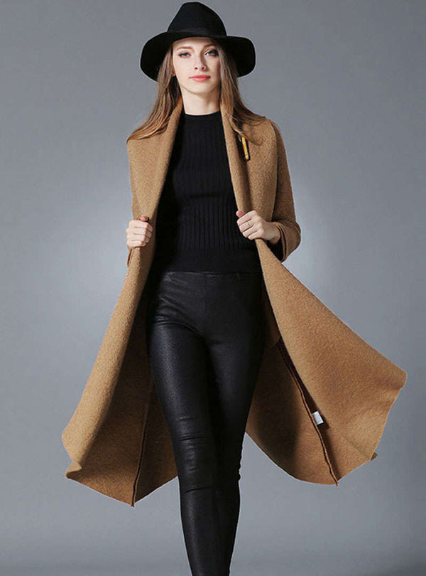 Solid Color Swing Woolen Coat