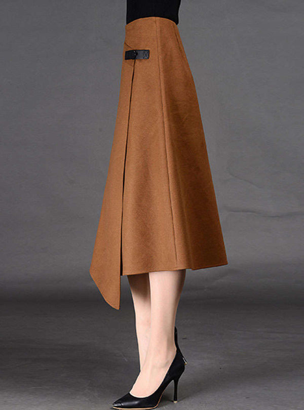 Solid Color Asymmetric Woolen Skirt