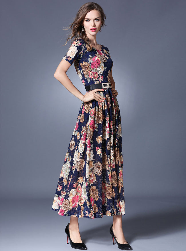 Floral Printed Belt Waist Ruffled Maxi Dress