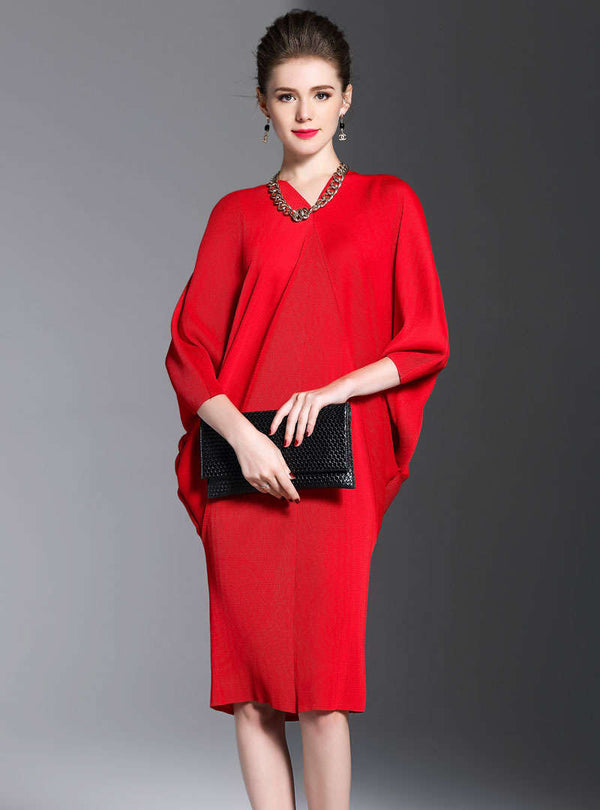Red Batwing Sleeve V-neck Midi Dress