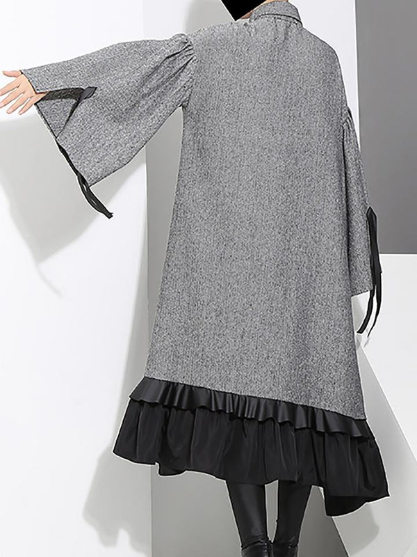 Gray High Low Casual Paneled Statement Midi Dress