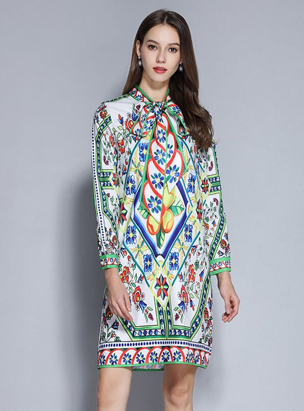 Casual Tie-Neck Green Shift Floral-Print Mini Dress