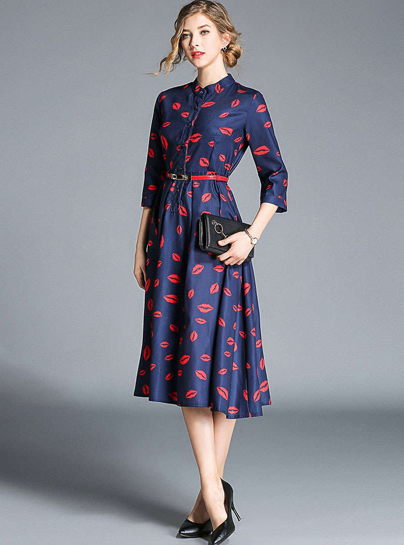 Dark Blue Lip Printed Belted Waist Midi Dress