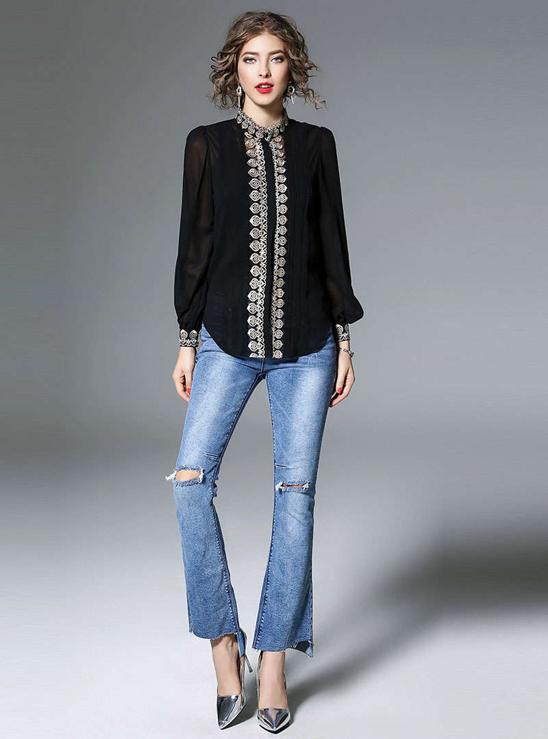 Solid Color Embroidered Lantern Sleeve Blouse