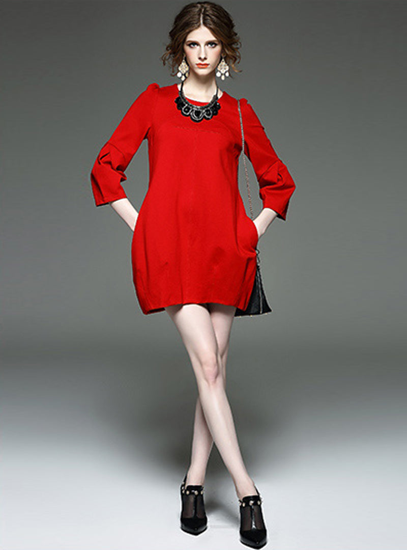 Pure Color Round Neck Mini Dress