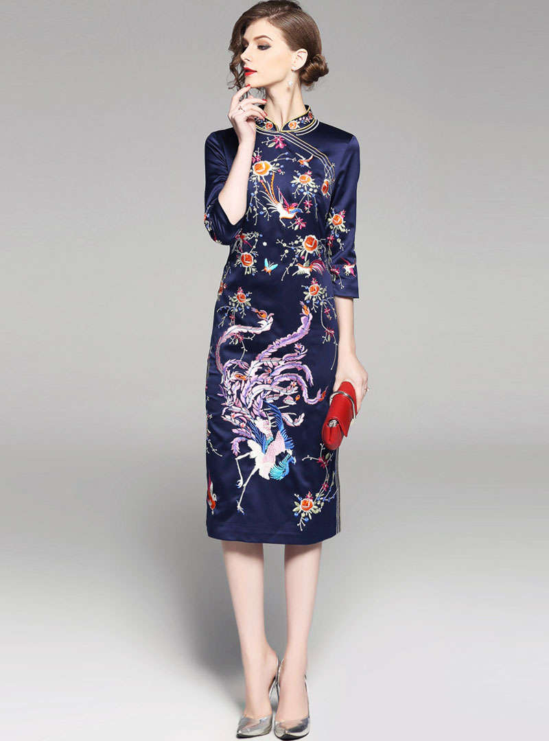 Oriental Embroidered Split Side Midi Dress