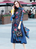 Royal Blue Floral Embroidered Maxi Dress