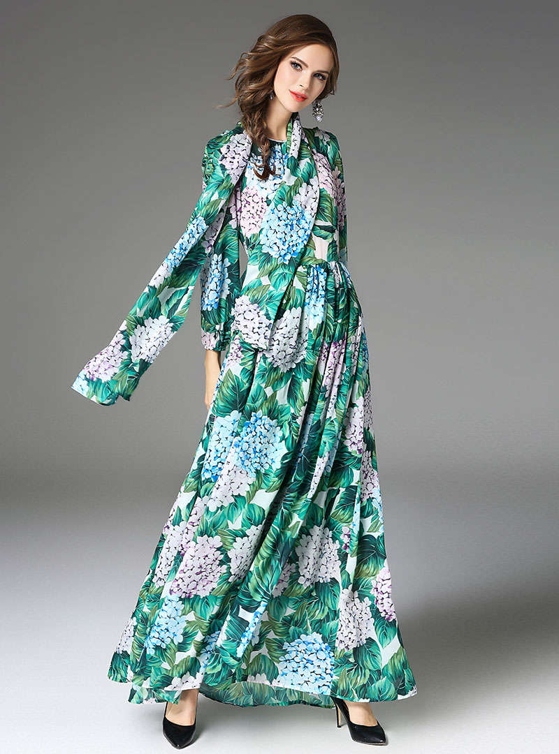Green Floral Printed Swing Maxi Dress