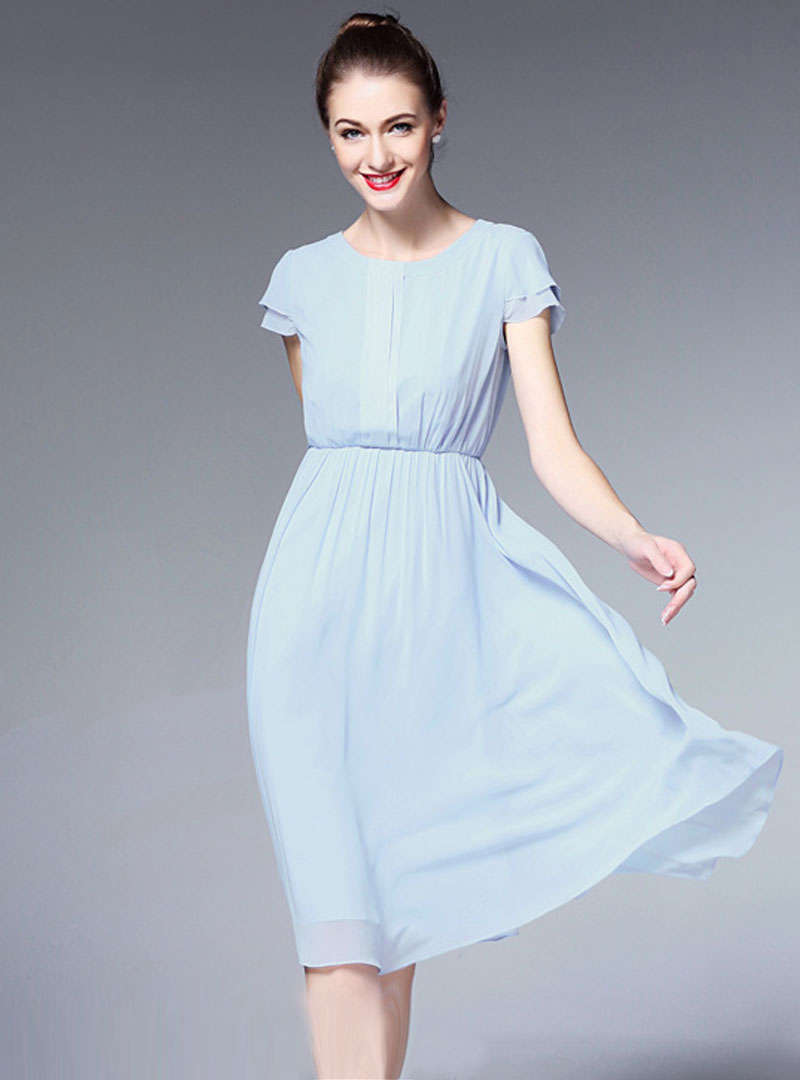 Solid Color Cinched Waist Chiffon Midi Dress