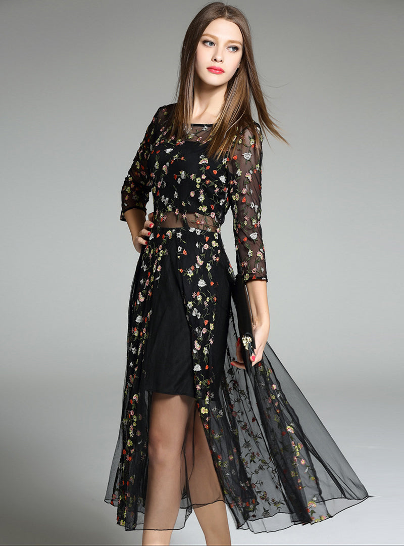 Black Embroidered Floral Maxi Dress