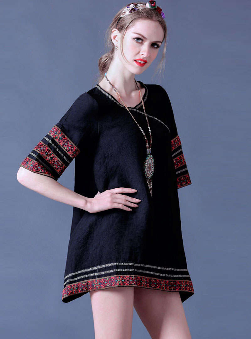 Retro Embroidered Asymmetric Mini Dress