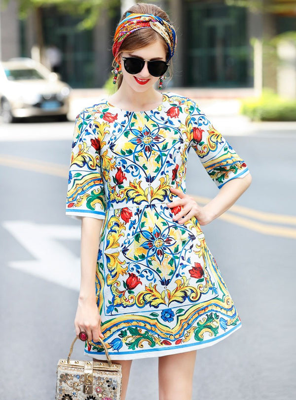 Blue Floral Printed Jacquard Mini Dress