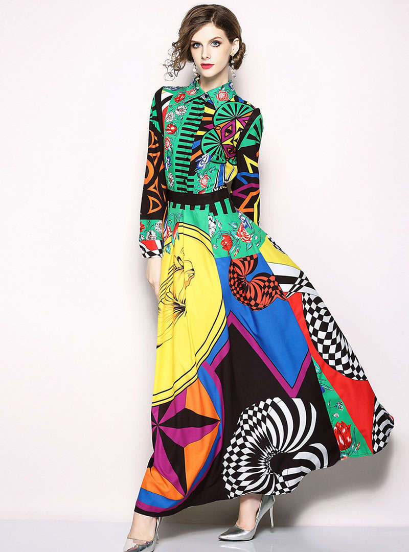 Stylish Color-block Lapel Long Sleeve Maxi Dress