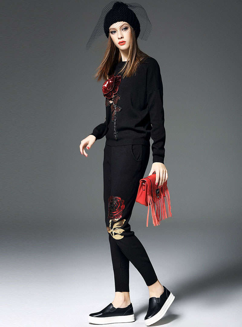Black Floral Embroidered Paillette Two Piece Suit