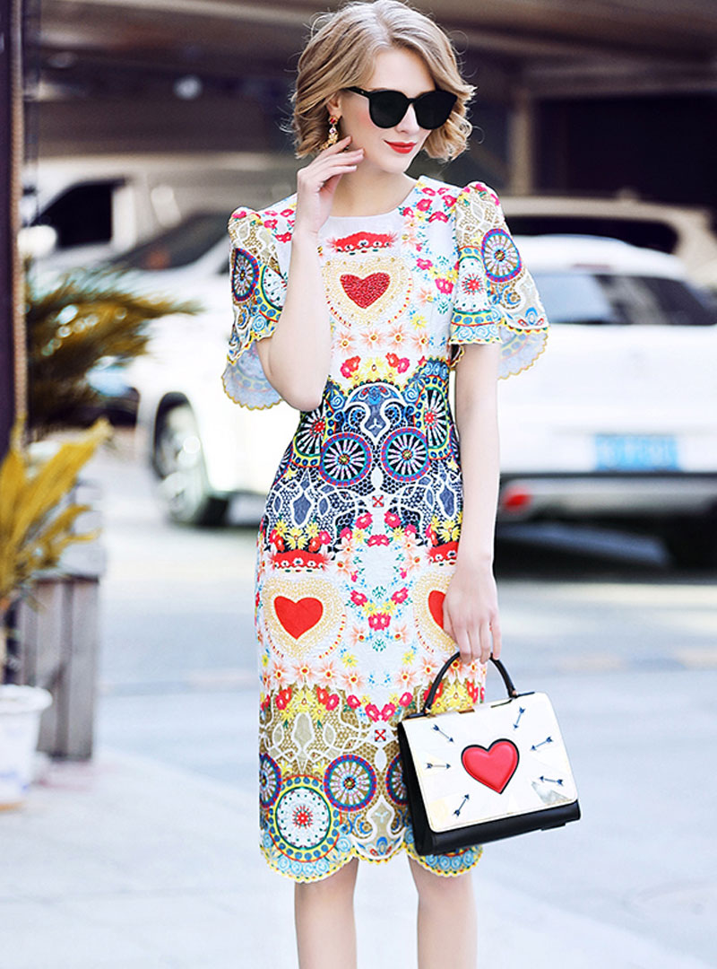Embroidered Floral Flare Sleeve Midi Dress