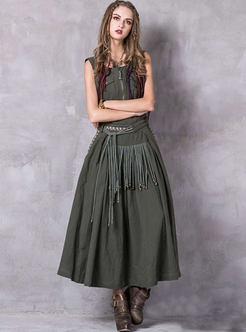 Deep Green Retro Tassels Embroidered Maxi Dress