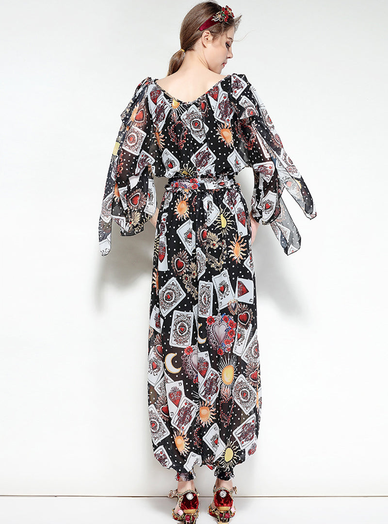 Black Floral Printed Women's Jumpsuits