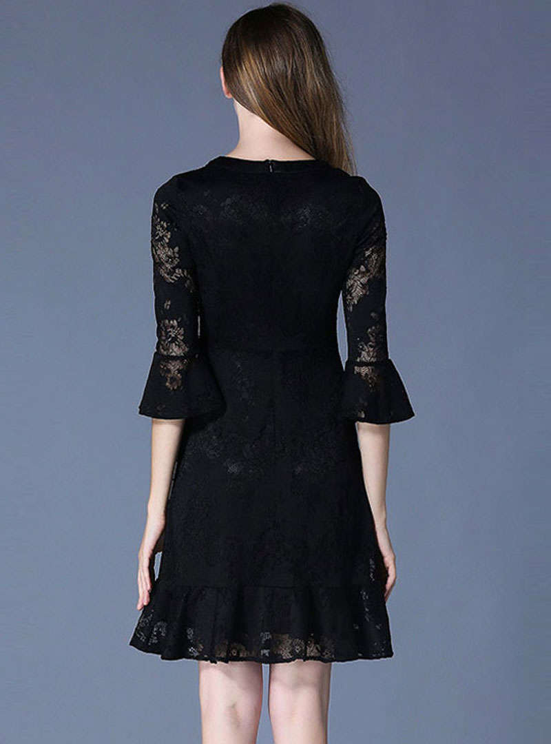 Black Lace Hollow Out Flare Sleeve Mini Dress