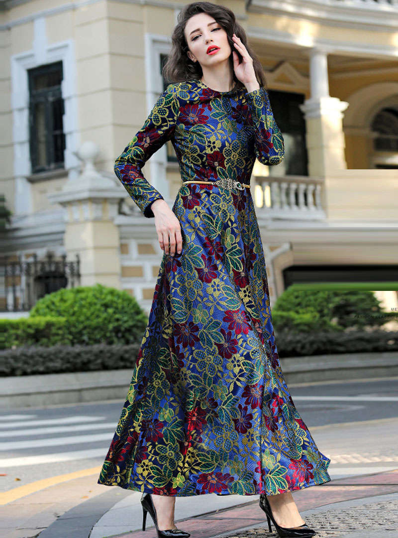 Multi Color Floral Embroidered Lace Maxi Dress
