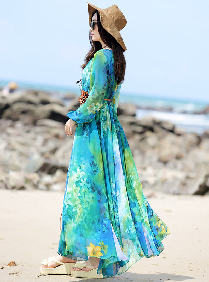 Multi Printed Slash Neck Maxi Dress