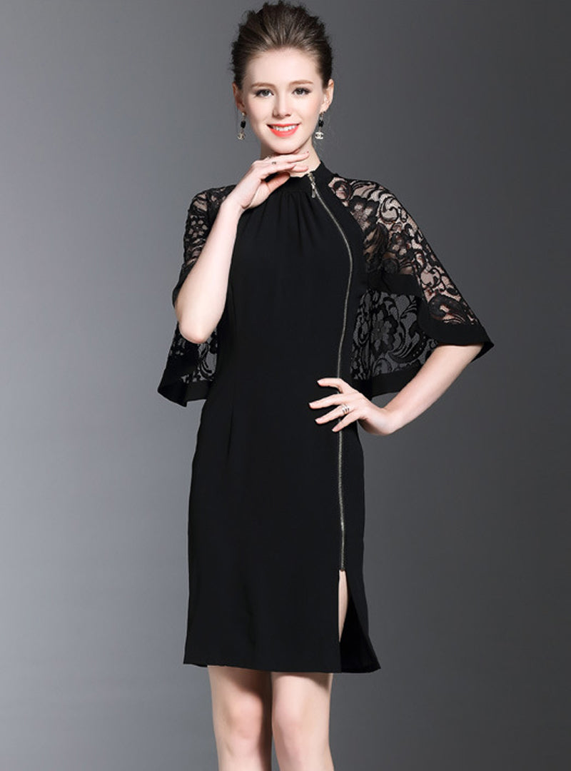 Black Lace Hollow Out Zippered Bodycon Dress