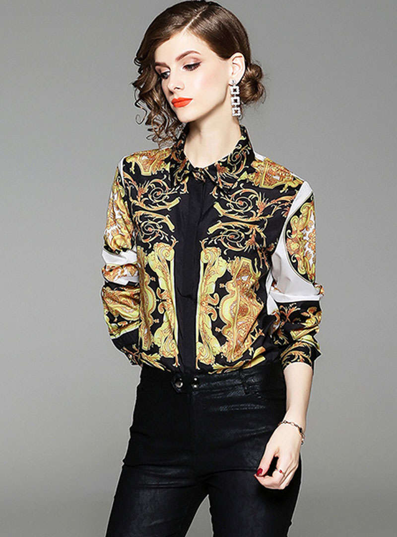 Gold Retro Floral Printed Blouse
